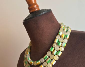 Vintage Green and Yellow Glass Beaded Three Strand Necklace and Earrings Set