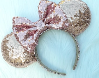 Gold Minnie Ears with Rose Gold Bow, Gold Sequin Ears, Rose Gold Bow, Minnie Ears, Minnie Mouse Ears, Sparkle Mouse Ears