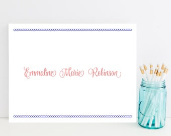 Preppy Customized Stationery - Pink and Navy Personalized Stationary