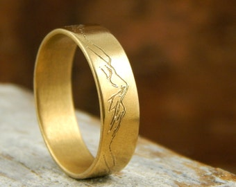 Mountain ring, solid 14k yellow gold band, 5 mm wide x 1.5 mm thick, engraved mountains, custom mountains available for additional charge.