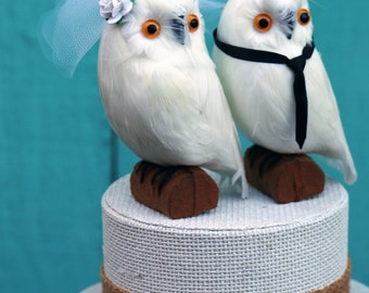 Snowy Owl Wedding Cake Topper: Bride & Groom Snowy Owl Cake Topper for a Wizarding Wedding