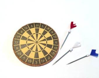 Dollhouse Miniature Dart Board with Darts Miniatures 1:12 Scale - 309