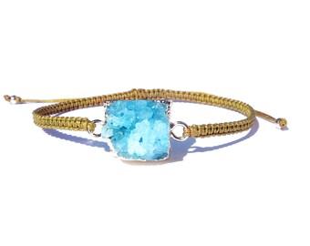 turquoise druzy golden olive knotted cord bracelet / friendship bracelet / gemstone adjustable bracelet / macrame bracelet