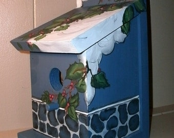 Hand Crafted Blue Birdhouse Winter Snow Scene Bird House Indoor/ Outdoor Ready To Ship