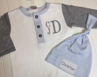 Baby boy coming home outfit, monogrammed knot cap, monogram romper, newborn picture outfit, baby raglan outfit newborn pictures, boy clothes