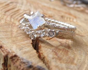 Minimalist Ring Moonstone Engagement Ring Square Rainbow Moonstone Ring Promise Ring or Chevron Ring Bridal Ring Set  Matching Rings