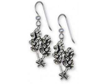 Bluebonnet Earrings Jewelry Sterling Silver Handmade Texas Wildflower Earrings FL4-E