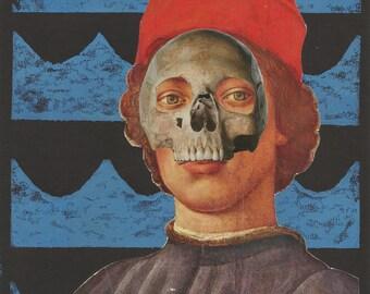 Original Mixed Media Collage Prince Ocean Skull
