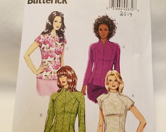 Butterick Pattern 6134,   Misses blouse short and long sleeve,  new uncut size 6-14 2014