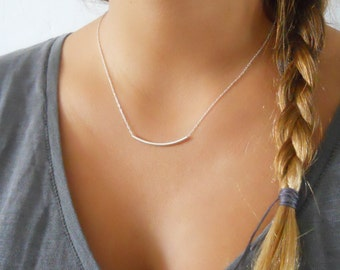 Silver Tube Necklace; Delicate Sterling Silver Necklace; Layering Necklace; Dainty Silver Tube Necklace; Minimal Silver Necklace;
