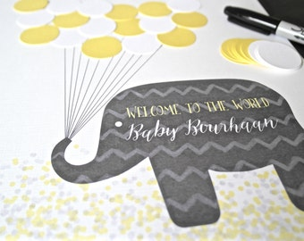 Yellow and Grey Baby Shower Decorations, Yellow Elephant Baby Shower Guestbook Alternative, Gender Neutral Shower Guest Sign In, Yellow