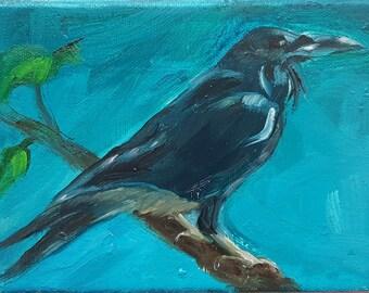 original small raven oil painting, wall decor,home decor,small crow raven art, bird painting, original bird art, bird art, 4 x 6 canvas