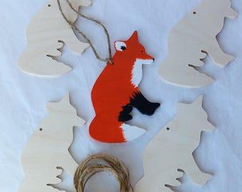 """Fox Ornaments/party favors, set of 5, Unfinished,  DIY kit,  gift / momento / holiday/party decoration, 4-1/2"""" tall"""