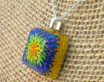 Hand painted resin pendant in orange, yellow blue, green & purple grass/tie-die/fireworks   - Multi-layer acrylic painting