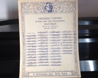 1945 Mazurkas by Frederic Chopin, Op. 68, No. 3 - Works for the Pianoforte Vintage Sheet Music