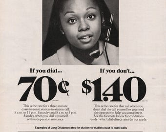 1971 Bell Telephone System Young African American Lady Telephone Operator Long Distance Photo Paper Print Ad