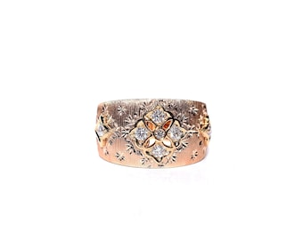 18k Brushed Rose Gold Diamond Cocktail/Statement Ring