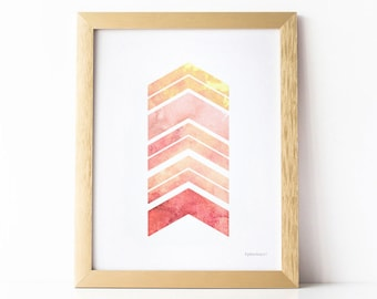 PRINTABLE Wall Art, Girls Bedroom Wall Decor, Geometric Wall Art, Chevron Arrows Coral and Pink Art Print, Abstract Print, Girls Room Decor