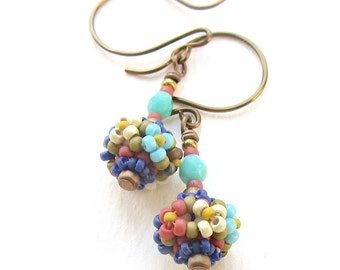 Tapestry Earrings, Floral Pattern Handstitched Beaded Beads, Bronze Earwires