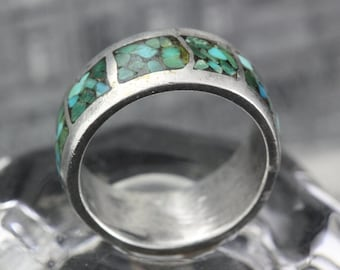 Silver Band with Speckled Turquoise and Green Size 6