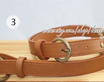1Pc Adjustable PU leather Shoulder bag straps, Camal Leather Shoulder Handles ,46inchs x2.5cm Bronze Anti Brass Gold Silvery Buckle