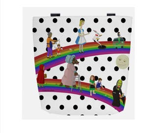 White & Black Polka Dot Fairy Tale (Everyday Use) Tote Bag featuring Hansel and Gretel