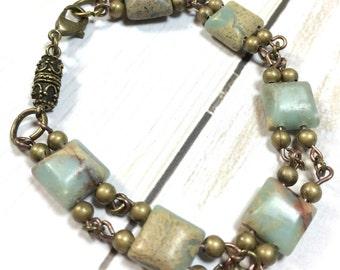 Heilung Absicht Armband, Stein Aqua Terra, Bronze Armband, Geschenk für sie, heilenden Absicht Schmuck, Edelstein-Armband
