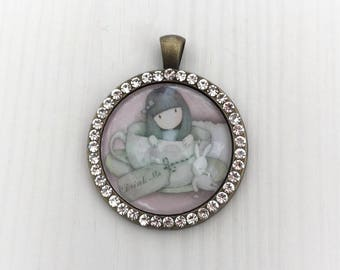 Cute girl, pendant, Medallion, rhinestone, bronze, unique
