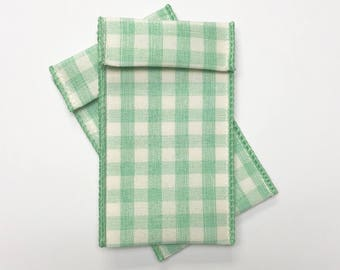 13 Jewelry Pouches - Green checkerboard  2 inches x 4 inches