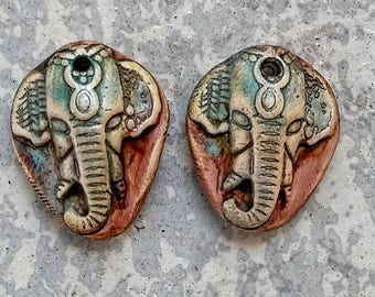 Bali elephant, polymer clay component, Bohemian jewelry, artisan, made to order, earring charms