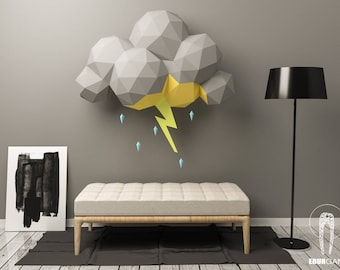 Cloud Storm Papercraft - Scenography - 3D Papercraft - Build Your Own - Low Poly Lightning -  PDF Download DIY gift, Wall Decor - Eburgami