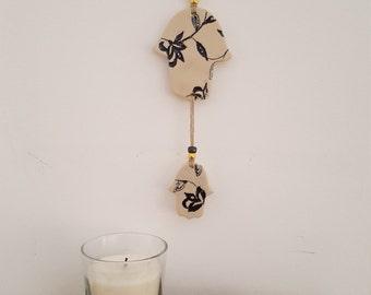 Hamsa ceramic wall art, jewish art, wall art for living room, jewish gift, judaica art, decorative wall art, judaica gift, Israeli art