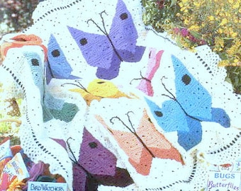 Vintage Crochet Pattern PDF Butterfly Afghan Throw Bed Cover Blanket