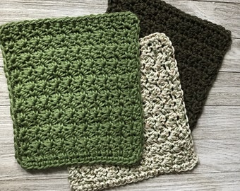 Crochet Cotton Wash Cloths, 3 Pack (Woods, Olive, and Sage colors), 8 inch by 8 inch.
