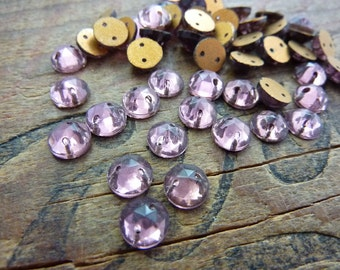 Vintage Two Hole Faceted 7mm Glass Sew On Beads