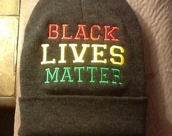 Black Lives Matter Beanie  Black Skully