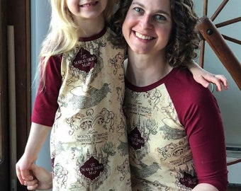 Women's HP Map Raglan- Tee-Shirt- Women's Top-Short Sleeve- 3/4th sleeve- HP Maps- Shirt