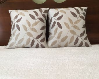 16x16, Pillow Cover, Light Brown & Taupe Leaves