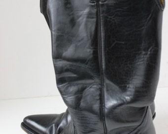 Vintage Acme Cowboy Boots Black Size 8 D 847 1650 Plain Classic