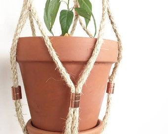 Rope and Copper Hanging Planter, Plant Hanger - The Mac