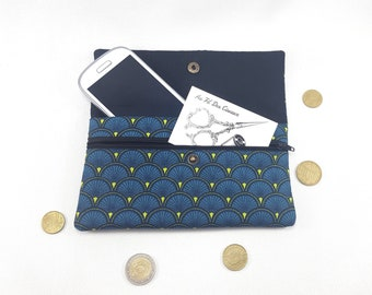 Phone pouch / / phone case / / quilt cover / / pouch / / clutch - peacock blue