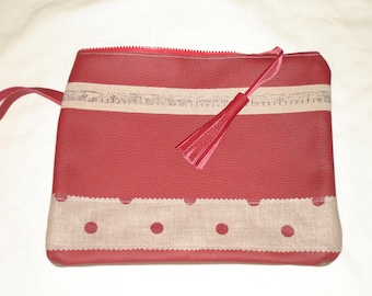 Large flat wallet red leather and taupe