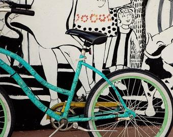 bicycle photography, aqua turquoise wall art, apalachicola, florida photography, bike wall art, mural street art, bike print