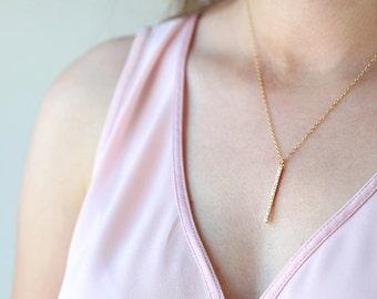 Long Skinny Pave Gold CZ Bar Necklace // Simple everyday modern bar necklace