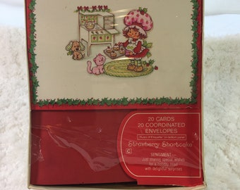 Vintage Strawberry Shortcake Christmas Card Set of 20 Assorted Cards & Envelopes in Original Packaging / holiday cards / vintage Christmas