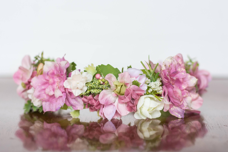 Flower Crown In Pink Flowergirl Hairpiece Pink Wedding