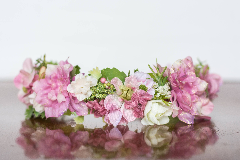 Flower crown in pink flowergirl hairpiece pink wedding description flower crown relaxing shades of izmirmasajfo