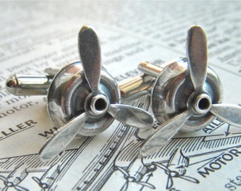 Steampunk Propeller Cufflinks Antiqued Silver Spinning Cuff Links Handcrafted In The USA