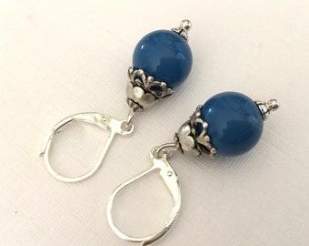 Blue swarovski earrings oxidized antiqued cobalt blue earrings