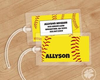 Softball - Luggage Tag, Bag Tag, Backpack Tag, ID Tags, Personalized, Custom